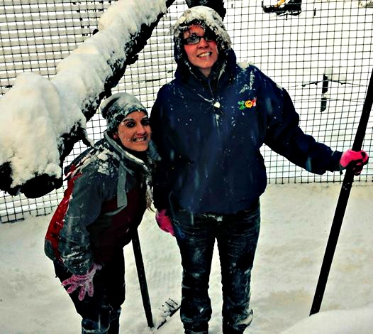 zoo keepers in snow