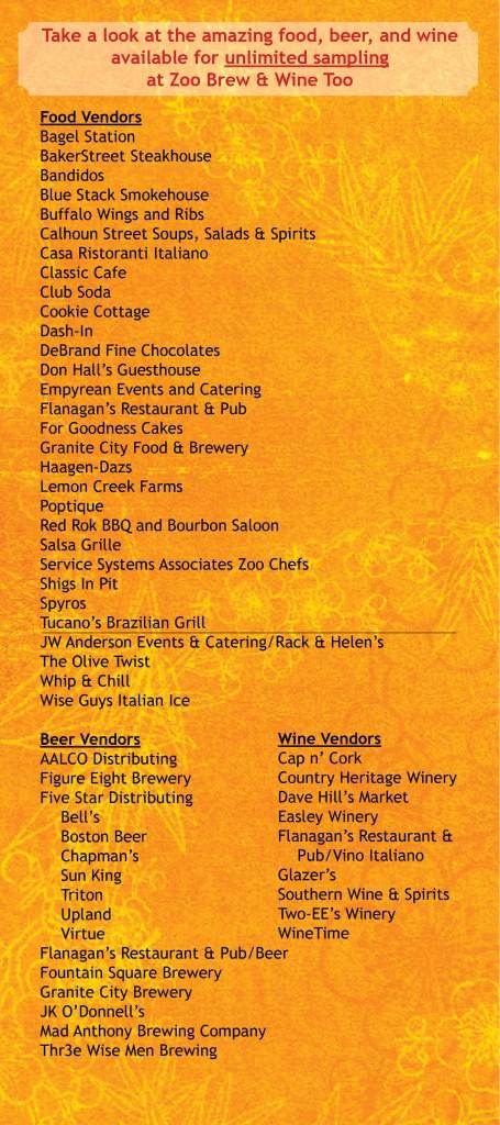 Zoo Brew vendor list 2014
